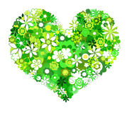 Green flowers heart shape. Stock Photo