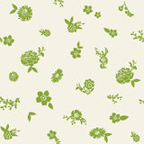 Green flowers  and leaves seamless pattern japanese style Stock Images