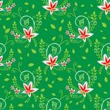 Green flowers seamless pattern Stock Photo