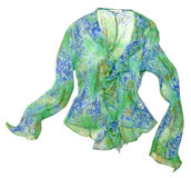 Green flowers shirt blouse Royalty Free Stock Image