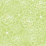 Green flowers texture vector pattern. royalty free illustration