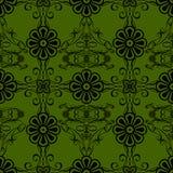 Green flowers vintage style wallpaper background. By Black-Hard Artstudio Stock Image