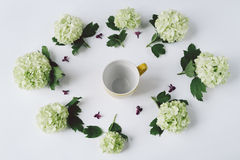 Green flowers, yellow cup with tea and a wooden spoon on a white Stock Image