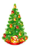 Green fluffy Christmas tree with colorful balls, snowflakes and garlands. Stock Images