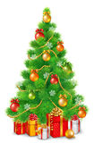 Green fluffy Christmas tree with colorful balls, snowflakes and garlands. Under the tree are Christmas gifts Stock Images