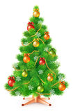 Green fluffy Christmas tree with colorful balls, snowflakes and garlands. On white background, vector illustration Stock Images