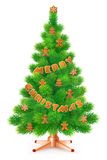 Green fluffy Christmas tree with gingerbread,  on white background Royalty Free Stock Images