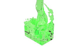 Green fluid fills up a container slowly.. colored water. Close-up view of green fluid fills up a rectangular container in slow motion isolated on white stock footage