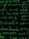 Green fluo mathematical calculation on blackboard. Mathematical calculations written with a green marker on a black background Royalty Free Stock Image