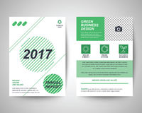 2017 green flyer a4 template. 2017 green abstract flyer layout template, brochure background, leaflet with cover, vector design in a4 size for business annual Royalty Free Stock Photo