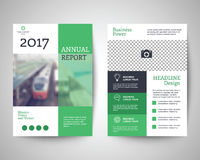 Green flyer a4 template. Green abstract flyer layout template, brochure background, leaflet with cover, vector design in a4 size for business annual report Stock Photography