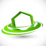Green flying hexagon Royalty Free Stock Photography