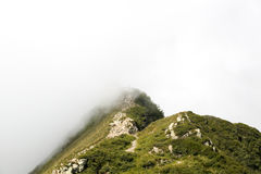 Green Foggy Mountain Tops at Daytime Royalty Free Stock Photos