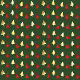 Green Foil Christmas Tree Seamless Background Pattern Stock Images