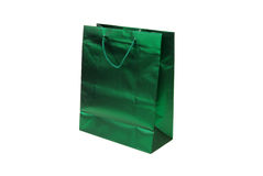 Green foil gift bag Stock Image