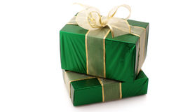 Green foil gifts Royalty Free Stock Image