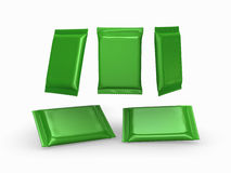 Green foil  plain flow wrap packet with clipping path Royalty Free Stock Photos