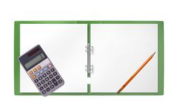 Green folder, calculator and pencil isolated on white Stock Photo