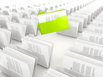 Green folder in a row Royalty Free Stock Images
