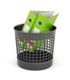 Green folders in the trash can isolated on white background. 3d. Green folders in the trash can isolated on white background. Wastepaper basket and folders. 3d Royalty Free Stock Images