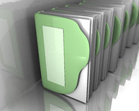 Green folders with white papers inside 3d art. Folder with a sheet of paper Blank, . gray background, blue color of folder. a lot of paper, folders, structured Royalty Free Stock Photo