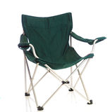 Green folding lawn chair on white Royalty Free Stock Photography