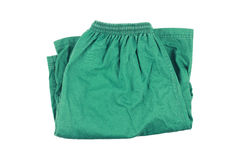 Green folding short pants isolated on white Royalty Free Stock Images
