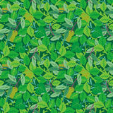 Green foliage seamless repeat pattern. Easy tilable (you see 4 tiles) green foliage seamless repeat pattern (print, background, wallpaper). Flat colors used royalty free illustration