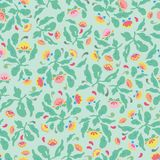 Green folk art floral pattern. Peppermint green folk art floral pattern with pink and yellow blossoms. Surface pattern design stock illustration