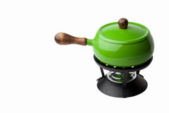 Green Fondue Pot. Bright green fondue pot isolated against white background stock photography