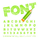 Green font drawn with highly detailed green pencil Stock Images
