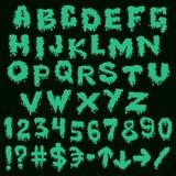 Green font smudges. alphabet splashing Stock Images