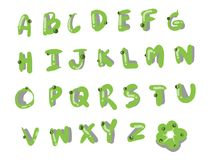 Green font style, alphabet set. The green font style A to Z, icon, font pack or alphabet set for daily use stock illustration