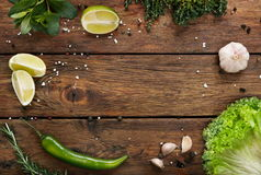 Green food background, rustic wood with copyspace royalty free stock image