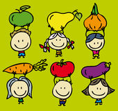 Green food children. Happy kids with fresh fruits and vegetables Stock Photography