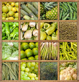 Green food collection. Composition of fruit and vegetables framed in wood Stock Photography
