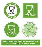 Green Food Grade Plastic symbol, isolated. (non toxic plastic icon Stock Photo