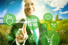 Green food industry. Food industry and clean eating business concept illustration Stock Photo