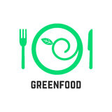 Green food logo with tablewares Stock Photo
