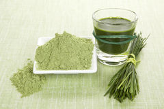 Green food supplements. Green juice, wheat grass powder and barley grass blades on green background. Detox and healthy living Stock Image