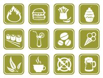 Green food symbols. Twelve ornate food symbols on a green background Stock Photo