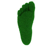 Carbon footprint. 3d illustration of a foot covered in grass texture against a white background. A carbon footprint concept, great for publications Royalty Free Stock Photography