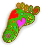 Green Foot Print Doodle Stock Photography