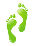 Green foot steps - ecological footprint. Green foot steps isolated on white Royalty Free Stock Photos