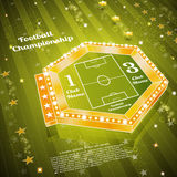 Green football background with scoreboard game field Royalty Free Stock Photo