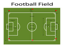 Green Football Field ground, Green soccer filed ground. Measurements standard. Sport vector illustration, image, jpeg Royalty Free Stock Photos