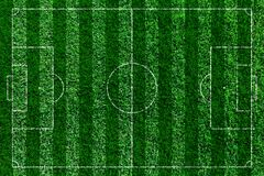 Green football field, soccor field from top view. Stock Image