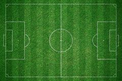 Green football field, soccor field from top view. Stock Images