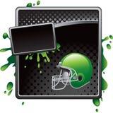 Green football helmet black halftone grungy ad Stock Photo