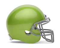 Green Football Helmet. Side View of Green Football Helmet with Copy Space Isolated on White Background Stock Photos